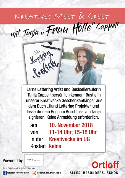 Tanja Cappell, Stay hungry, stay foolish, Meet and Greet, Ortloff Köln, 10. November 2018, Poster, Plakat